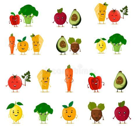 Funny Fruits Set. Cute Fruits And Vegetables Collection