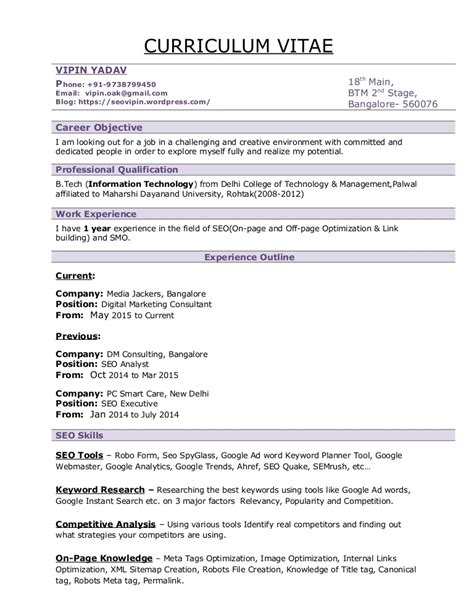 Sle Resume For Digital Marketing Manager by Vipin Seo Resume Seo Resume Sle Format