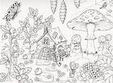 Coloring Adult Printable Fairy Gnome Coloriage Colouring Malvorlagen Garden Ausmalbilder Coloriages Ausmalen Karlzon Hanna Livre Adulte Dessin Books Baumhaus Buch sketch template