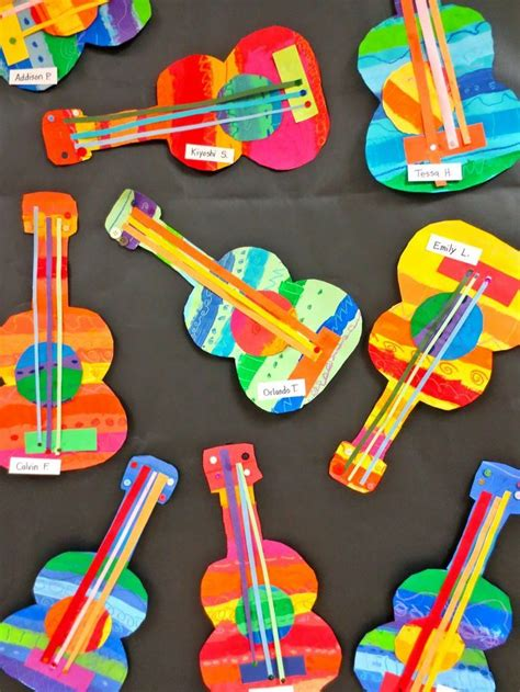 These Collage Guitars Are Adorable Perfect Art Project For Younger Kids  Art In The Classroom