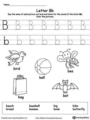 words starting with letter b word family worksheets preschool letters phonics worksheets