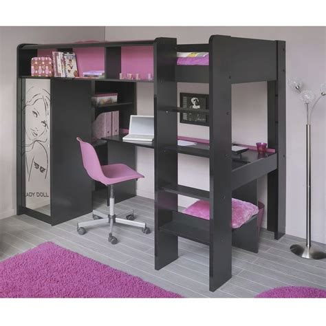 lit en hauteur avec bureau ladolly lit mezzanine 90 x 200 cm bureau étagères