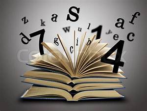 the magic book with the letters and numbers stock photo With letters and numbers book