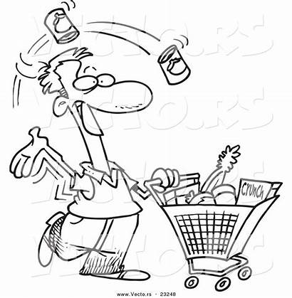 Shopping Grocery Coloring Cartoon Outline Clipart Vector