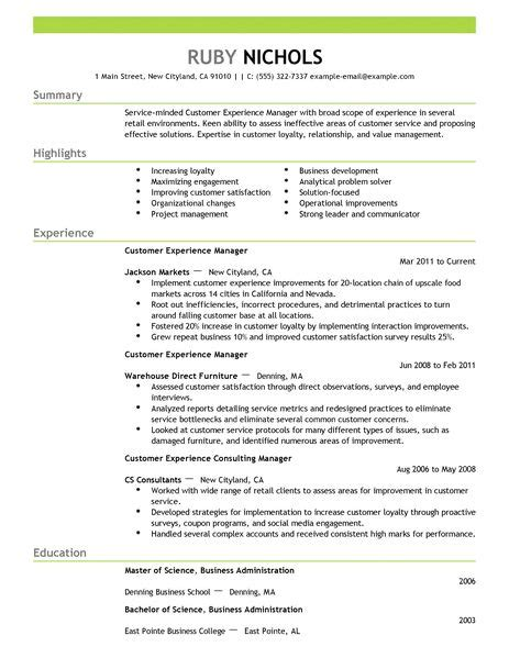 Experience On Resume For Customer Service by Customer Experience Manager Resume Exle Retail Sle