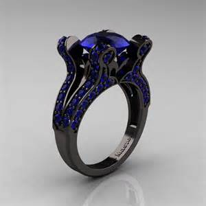 blue wedding ring vintage 14k black gold 3 0 ct blue sapphire pisces wedding ring engagement ring y228 14kbgbs