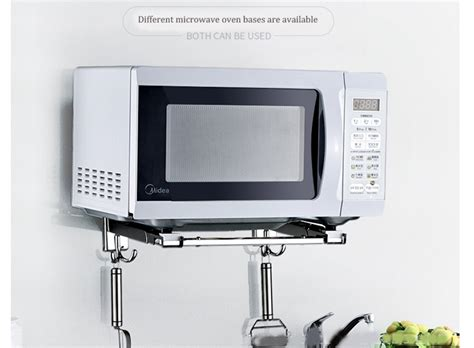 stainless steel adjustable microwave oven rack wall mounted kitchen floating shelf