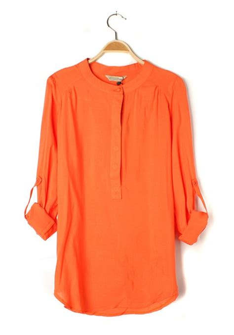 orange blouses orange plain neck seven 39 s sleeve chiffon blouse