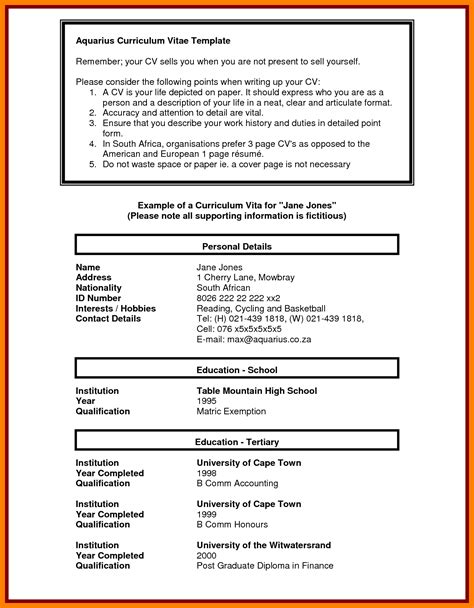 5 student cv template south africa packaging clerks