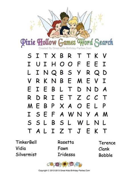 Tinkerbell Word Search Printable