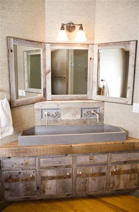 custom corner vanity rustic bathroom metro