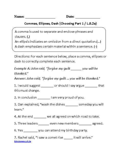 8th Grade Common Core  Language Worksheets  Englishlinxcom Board  Middle School Grammar, 8th