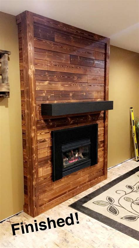 Stained Shiplap by Our Newly Remodeled Fireplace Charred Shiplap Pine Wood