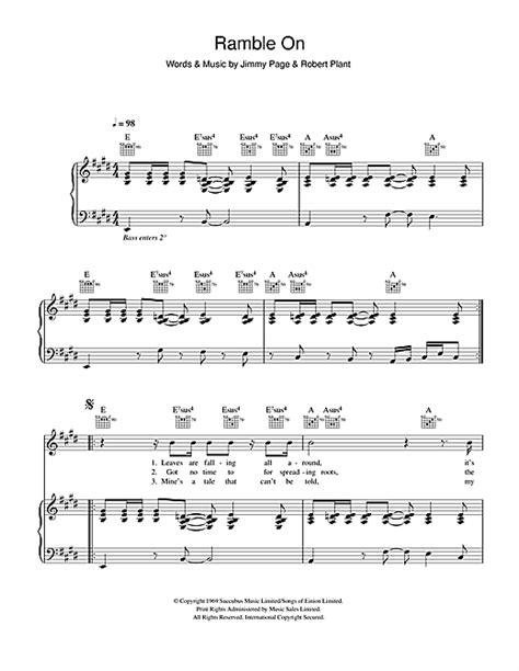 ramble  sheet   led zeppelin piano vocal