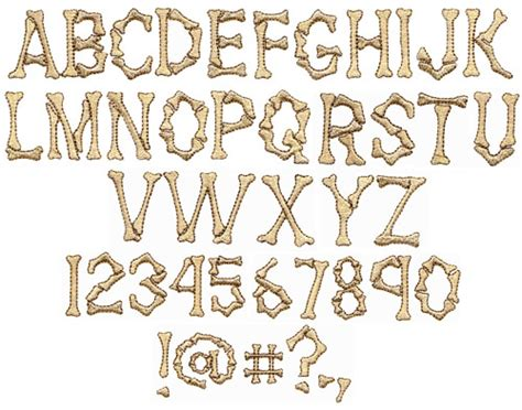 Dem Bones Embroidery Font