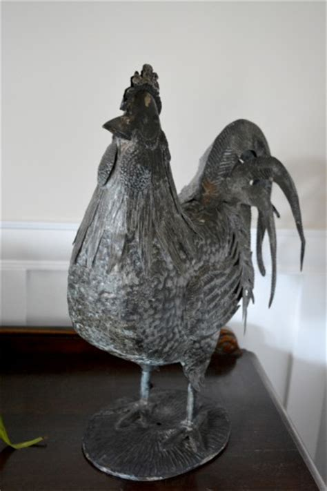 Antique Metal Rooster His Legs