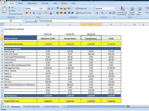 property management spreadsheet excel template  tracking rental property management excel
