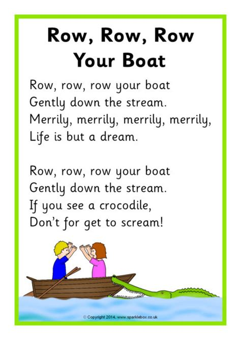 Row Your Boat Menu by Row Row Row Your Boat Song Sheet Sb10945 Sparklebox