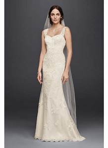 tulle and lace wedding dress with tank straps david39s bridal With tulle and lace wedding dress