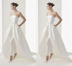 2015 new style high low wedding dresses inside strapless With wedding dress pants