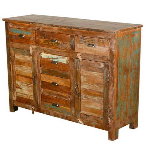 Sideboard Furniture by Pedro Rustic Reclaimed Wood 6 Drawer Sideboard