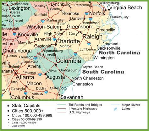 south nc map of north and south carolina