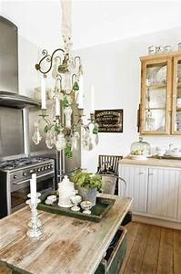 Rustic glam kitchen, wood farm table and floor, crystal ...