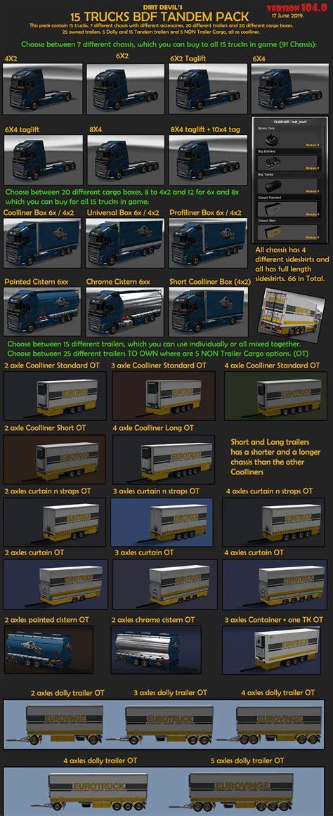 bdf tandem truck pack   ets euro truck
