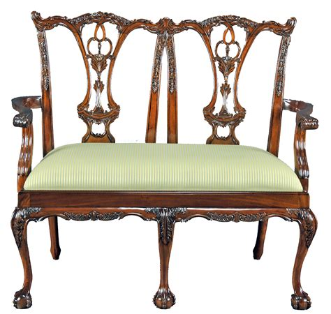 carved mahogany chippendale bench settee with in