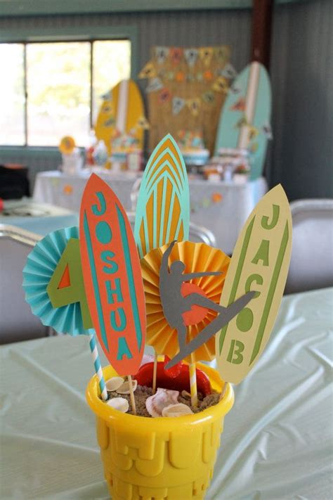 beach party centerpiece surfer party  madewithlovebyro