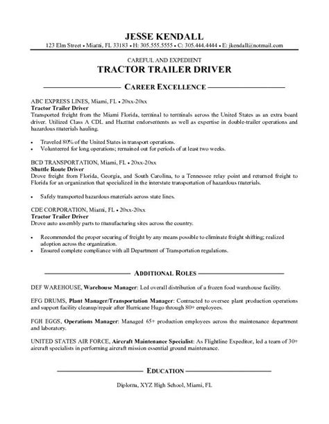 Free Sle Of Driver Resume by Exle Tractor Trailer Driver Resume Free Sle
