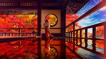 Anime Japanese Fall Building Traditional Miko Autumn