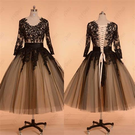 Black Vintage Prom Dresses With Sleeves Ball Gown Formal