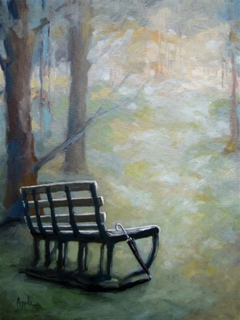 Park Bench Cool Colors With Umbrella Landscape Oil