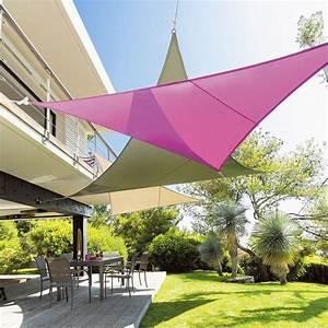 Voile D Ombrage Triangulaire 5m : voile d 39 ombrage triangulaire l5 m curacao violet ~ Dailycaller-alerts.com Idées de Décoration