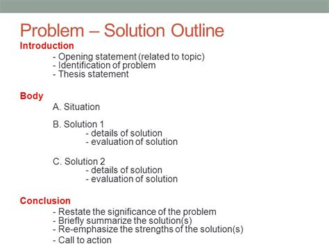 Problem Solution Outline Template by Academic Iii Class 22 May 29 Ppt