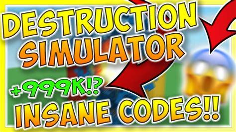 destruction simulator codes roblox