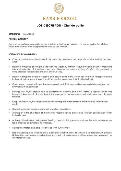 cover letter for chef de partie position at resume