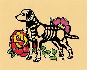 Dia de los Muertos Dog LABRADOR Day of the Dead Art Print 5 x