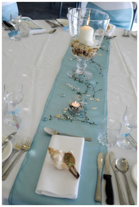 beach theme wedding reception table ideas