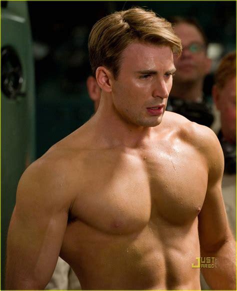 full sized photo of chris evans shirtless captain america
