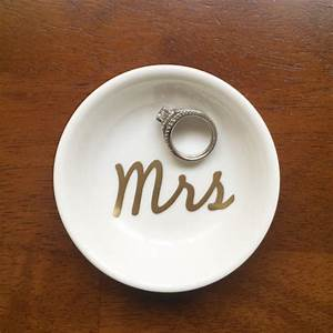 mrs ring dish custom wedding engagement by pearlsandpennies With wedding ring dish