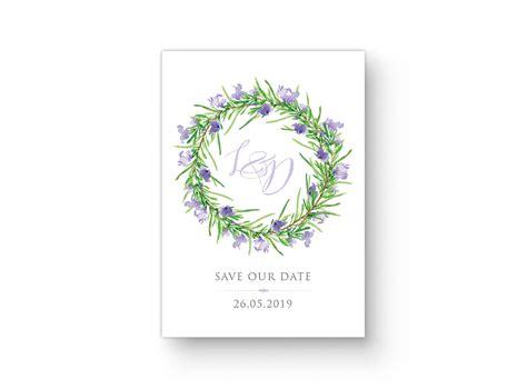 save  date postkarte mit gruenvioletten rosmarinkranz