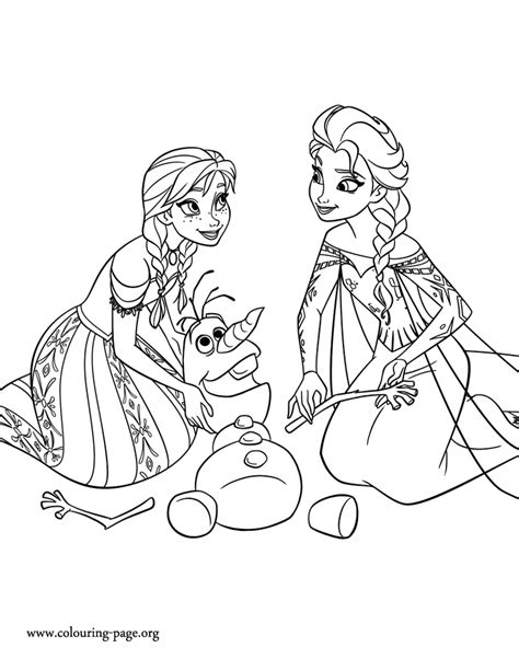 frozen anna  elsa rearranging  snowy parts  olafs body coloring page