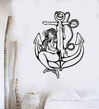 excellent anchor wall decals Vinyl Wall Decal Mermaid Anchor Nautical Sea Marine Stickers (ig4126) - Decals, Stickers & Vinyl Art