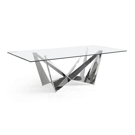 mesa de comedor de acero inoxidable  tapa de cristal