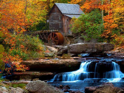 Old Wooden Mill Water Flow Rock Waterfall Hd Wallpaper For ...