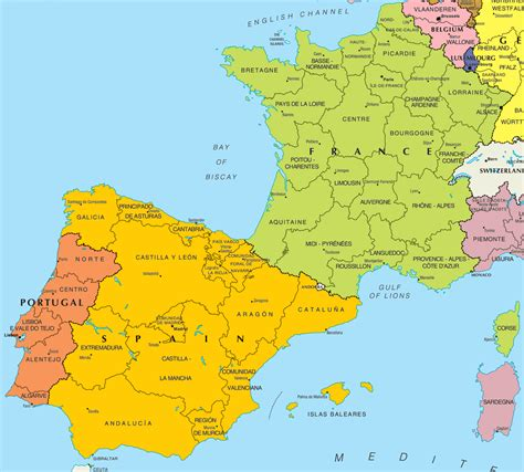 map  spain  france  printable maps