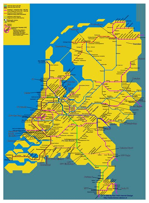 large train map  netherlands holland large train map