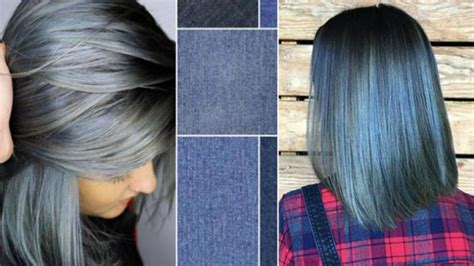 denim biru contoh colour rambut brown hairstylegalleries